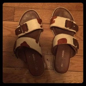 Donald J Pliner - real fur slides